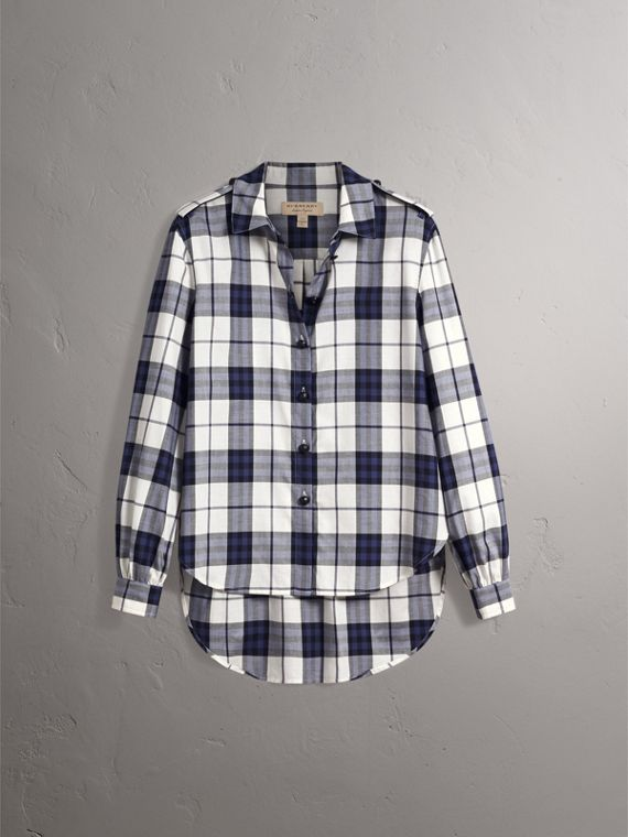 Check Cotton Flannel Military Shirt in Bright Navy - Women | Burberry - cell image 2
