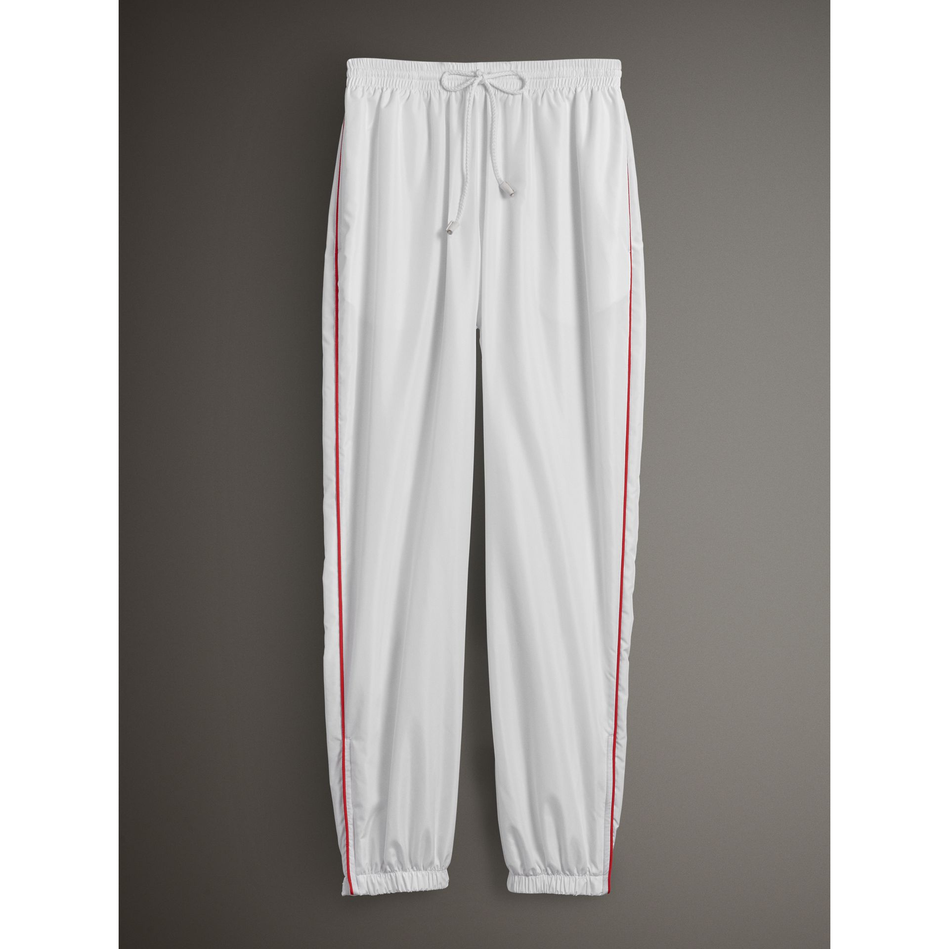 Contrast Piping Poplin Track Pants in White - Women | Burberry Australia - gallery image 3