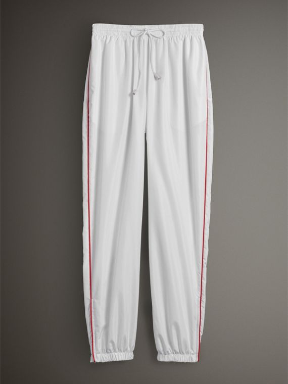 Contrast Piping Poplin Track Pants in White - Women | Burberry Singapore - cell image 3
