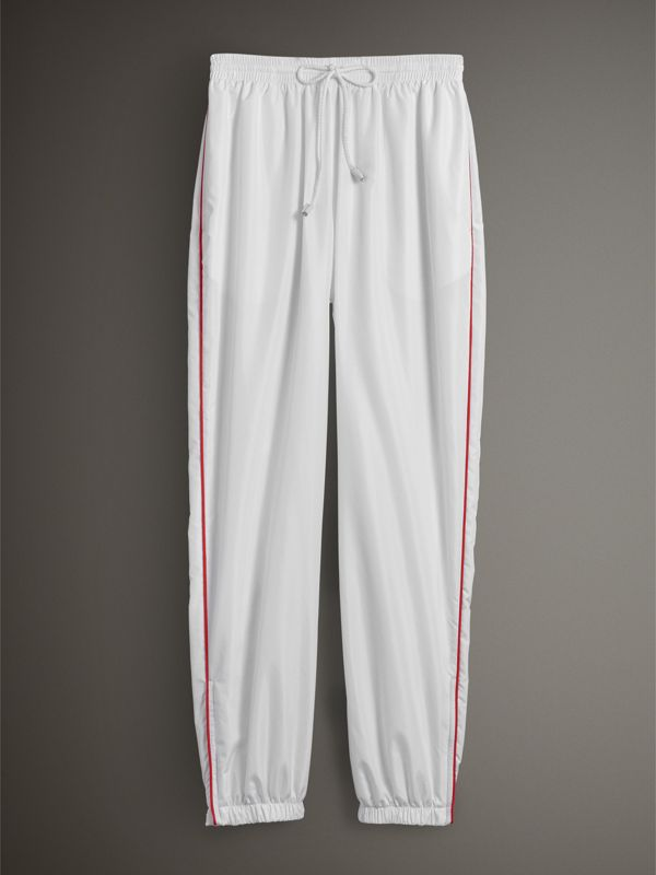 Contrast Piping Poplin Track Pants in White - Women | Burberry - cell image 3