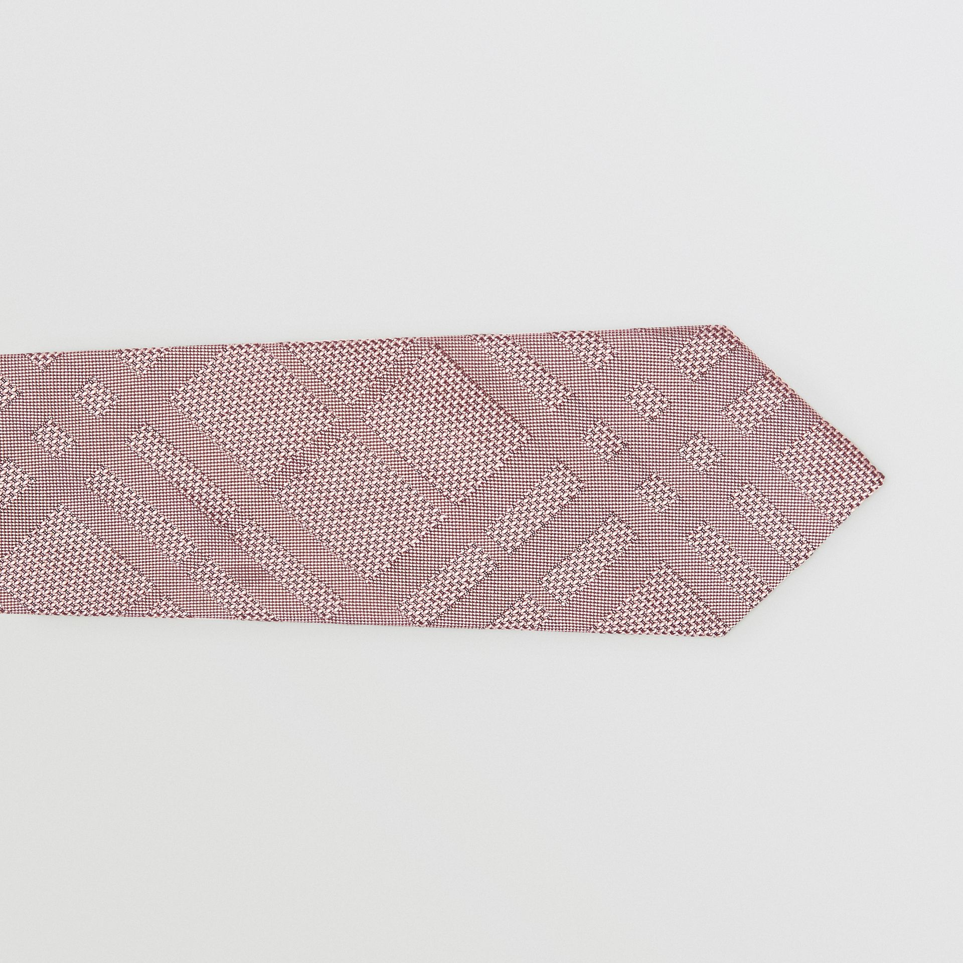 Modern Cut Check Silk Jacquard Tie in Alabaster Pink - Men | Burberry Australia - gallery image 1