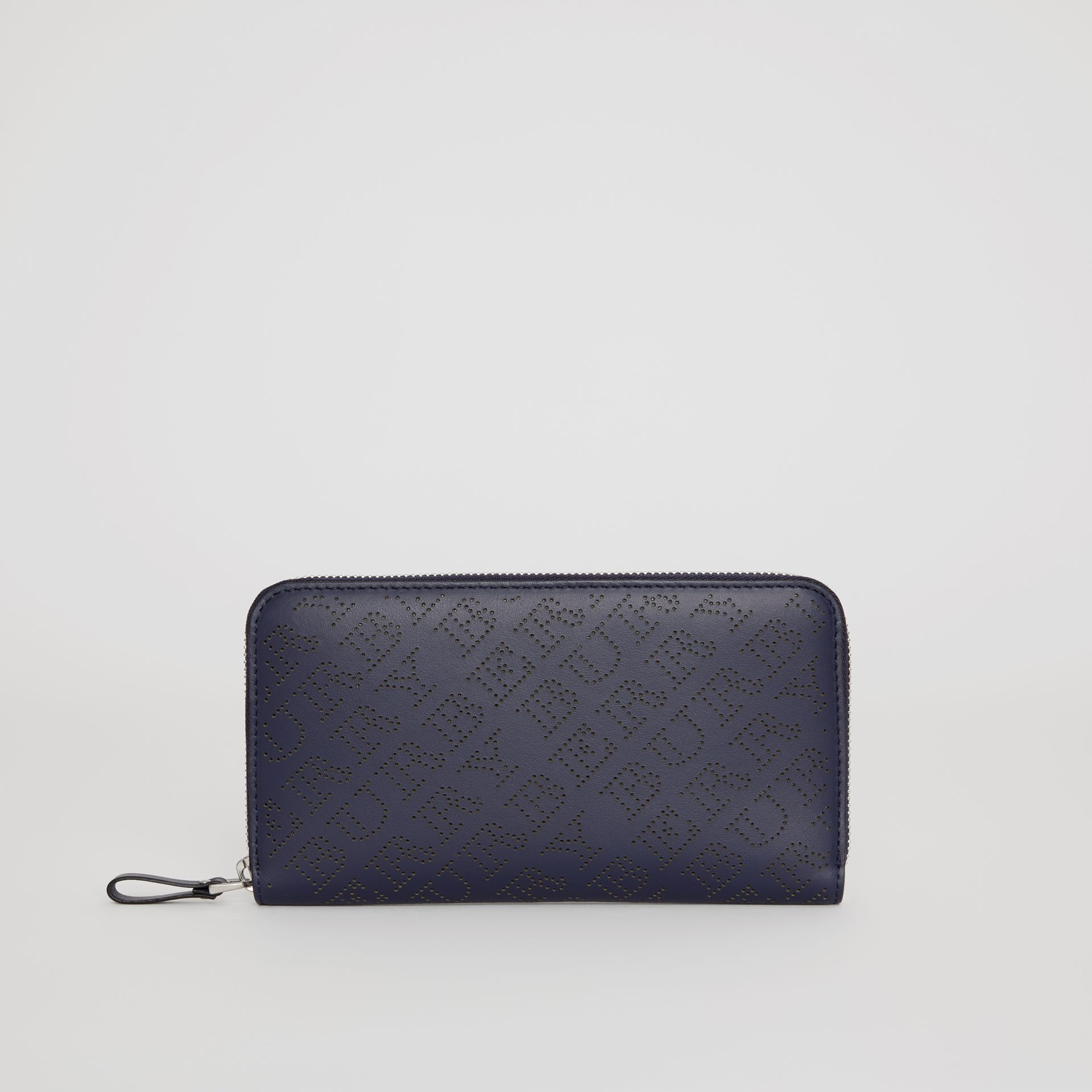 Perforated Leather Ziparound Wallet in Navy - Women | Burberry - gallery image 2