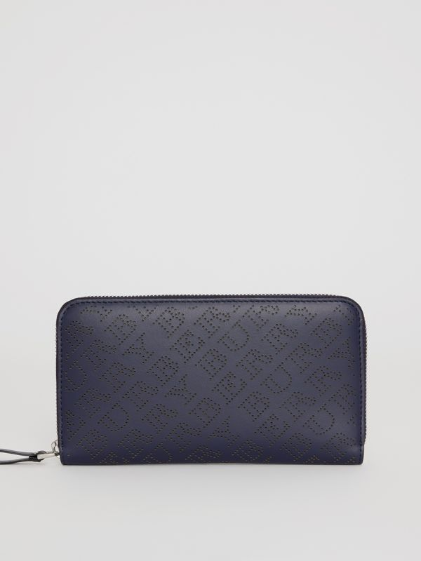 Perforated Leather Ziparound Wallet in Navy - Women | Burberry United Kingdom - cell image 2