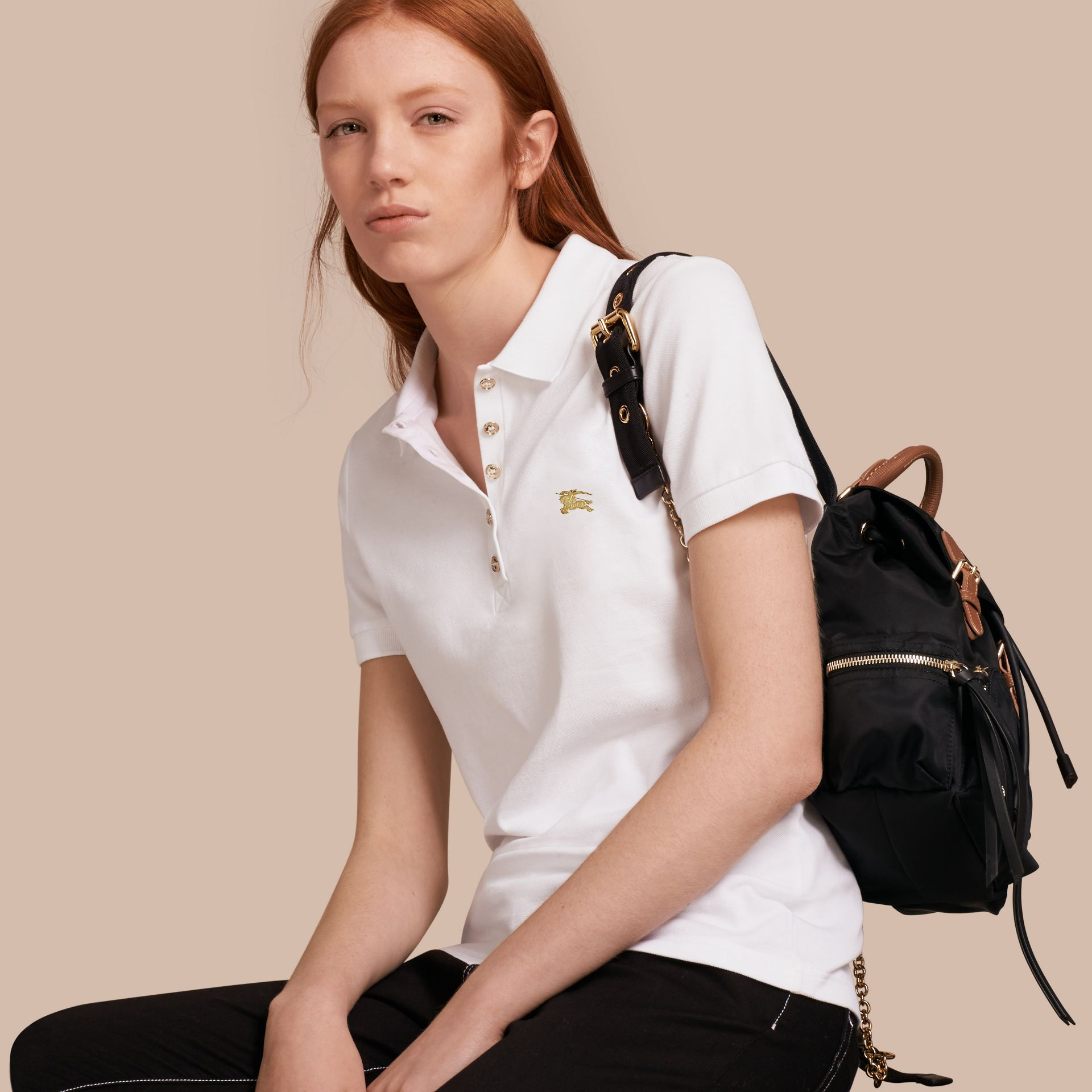 Stretch Cotton Piqué Polo Shirt in White - gallery image 1