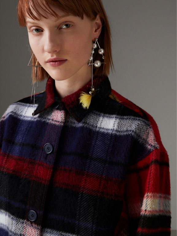 Check Alpaca Wool Jacket in Bright Navy - Women | Burberry - cell image 1