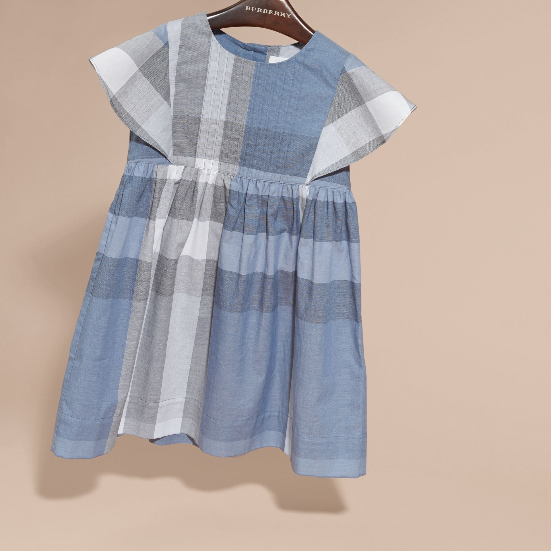 Ruffle Detail Check Cotton Dress in Canvas Blue - Girl | Burberry - gallery image 3