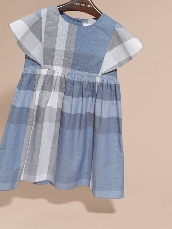 Ruffle Detail Check Cotton Dress in Canvas Blue - Girl | Burberry - cell image 2