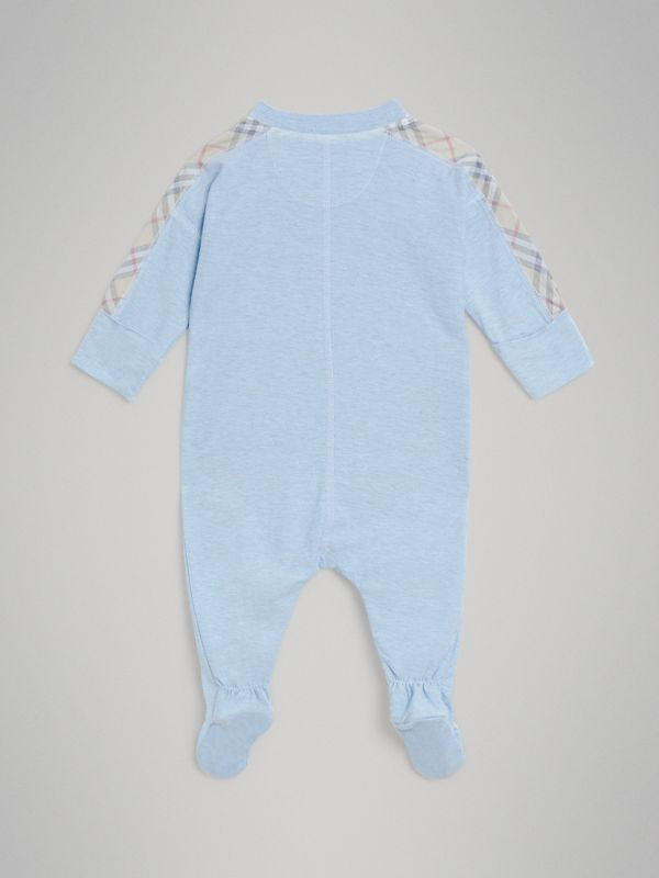 Check Cotton Three-piece Baby Gift Set in Pale Carbon Blue - Children | Burberry United Kingdom - cell image 3