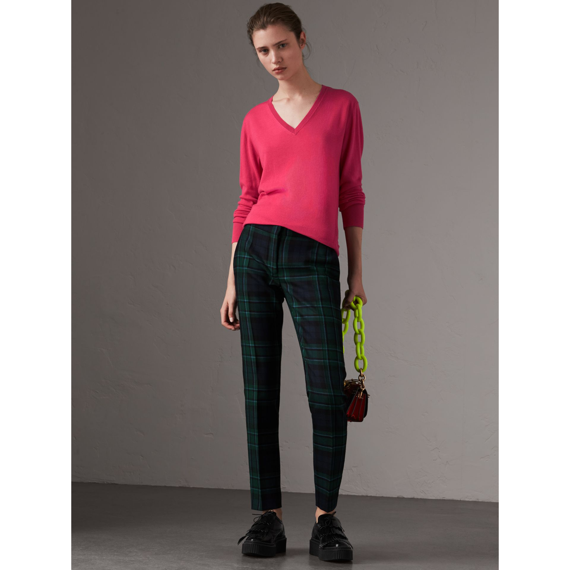Check Detail Cashmere V-neck Sweater in Bright Pink - Women | Burberry - gallery image 5