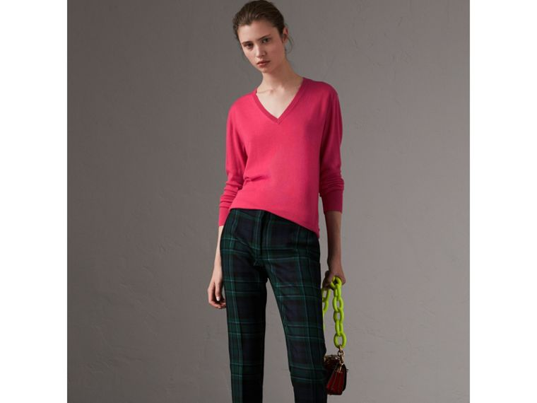 Check Detail Cashmere V-neck Sweater in Bright Pink - Women | Burberry - cell image 4