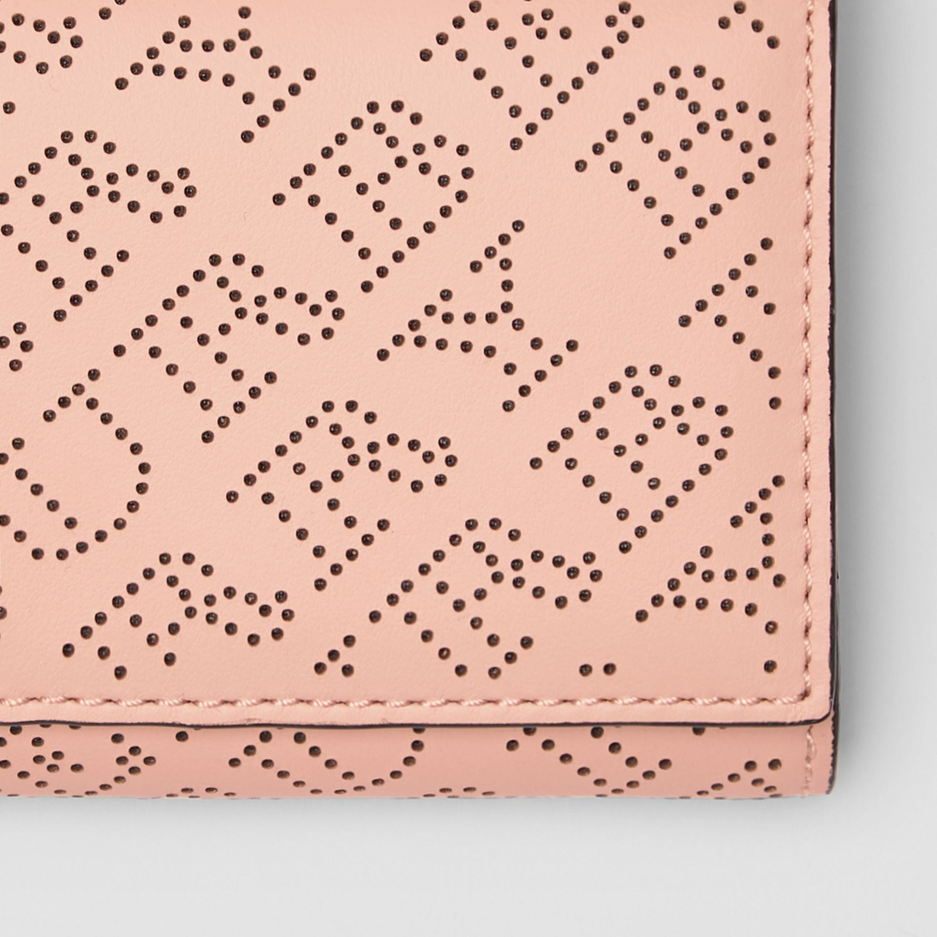 Small Perforated Logo Leather Wallet in Pale Fawn Pink - Women | Burberry - gallery image 1