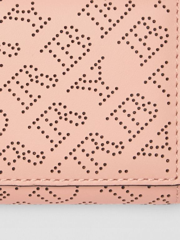 Small Perforated Logo Leather Wallet in Pale Fawn Pink - Women | Burberry - cell image 1