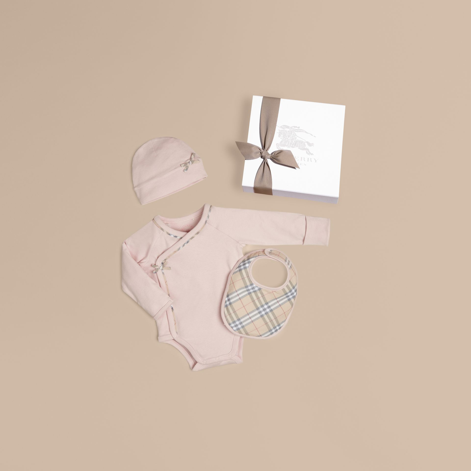 Check Cotton Three-piece Baby Gift Set in Powder Pink - Girl | Burberry Canada - gallery image 1