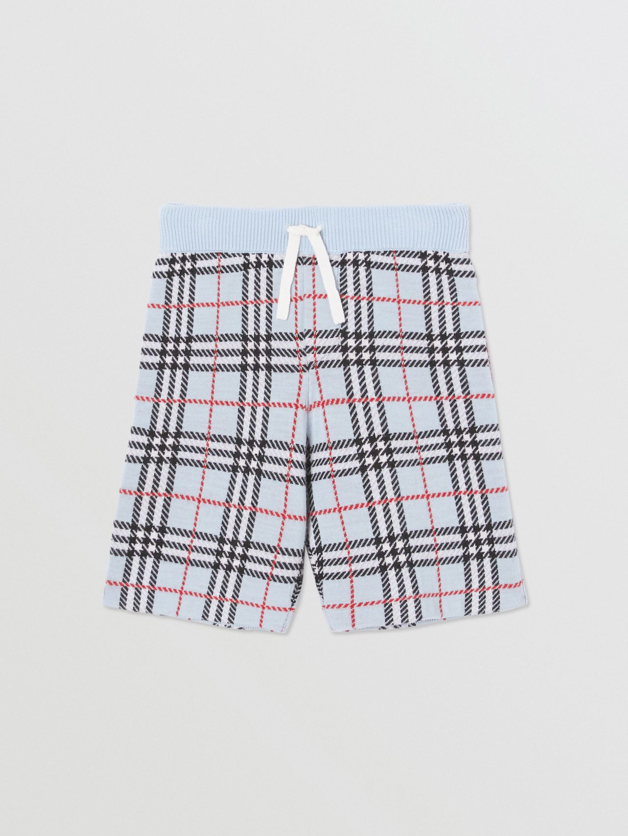 Check Merino Wool Jacquard Shorts in Pale Blue