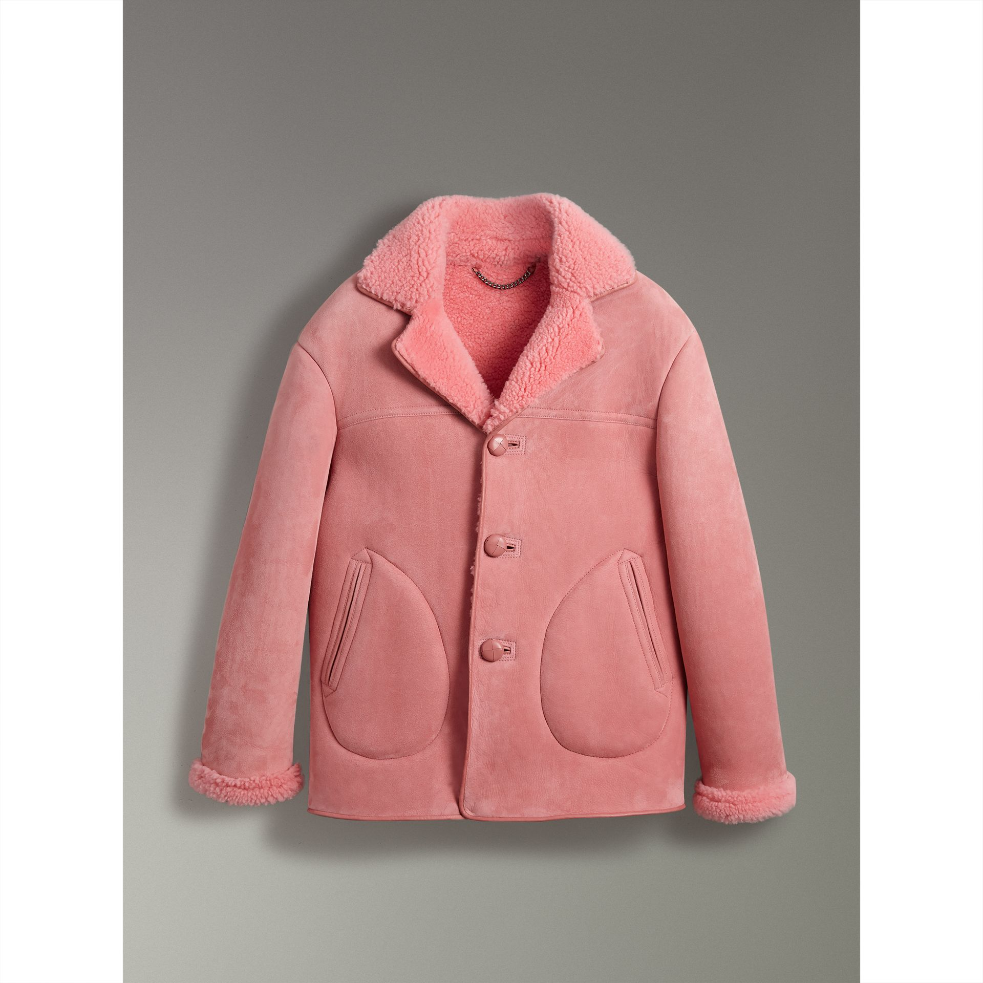 Leather Trim Shearling Jacket in Copper Pink - Men | Burberry United States - gallery image 3