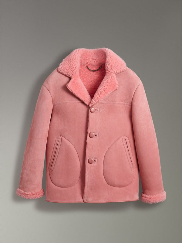 Leather Trim Shearling Jacket in Copper Pink - Men | Burberry - cell image 3