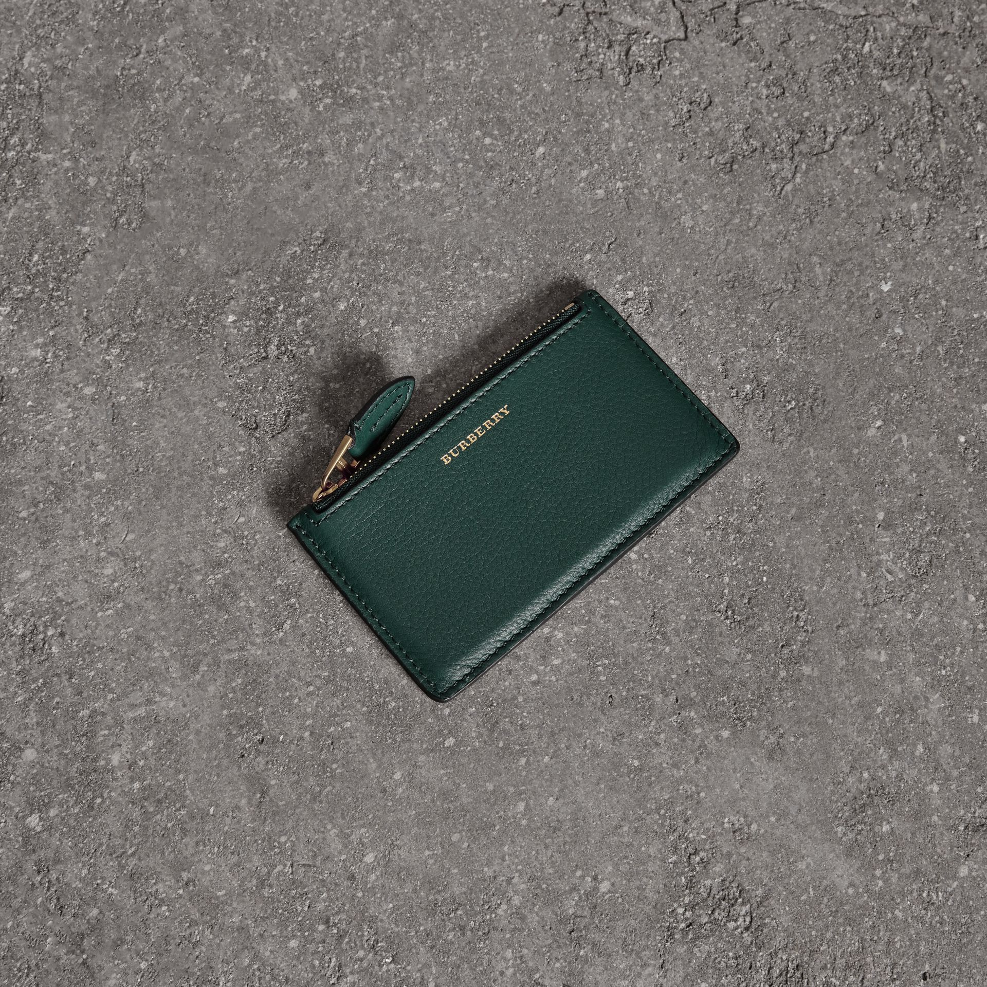 Two-tone Leather Zip Card Case in Dark Cyan | Burberry - gallery image 0
