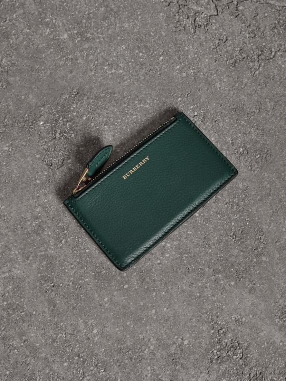 Two-tone Leather Zip Card Case in Dark Cyan