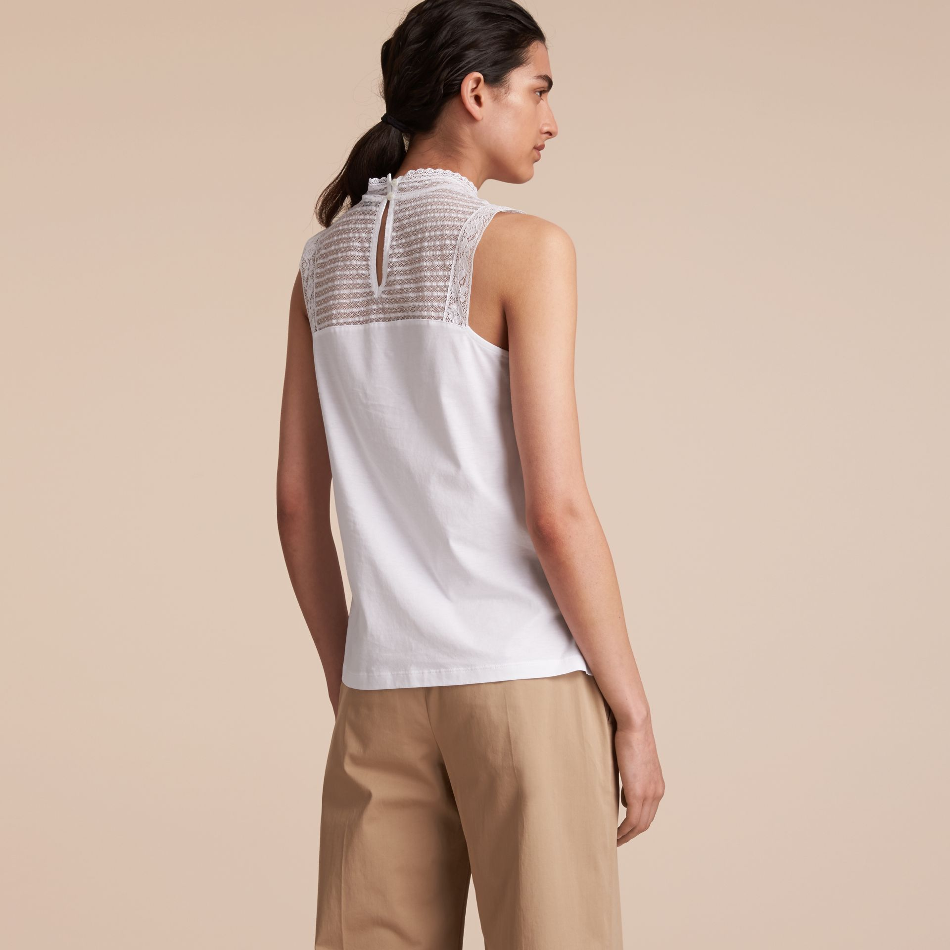 Sleeveless Lace Panel Cotton Top in White - Women | Burberry Canada - gallery image 3