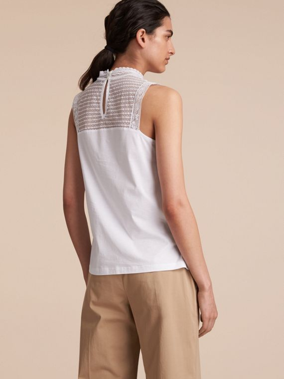Sleeveless Lace Panel Cotton Top in White - Women | Burberry - cell image 2