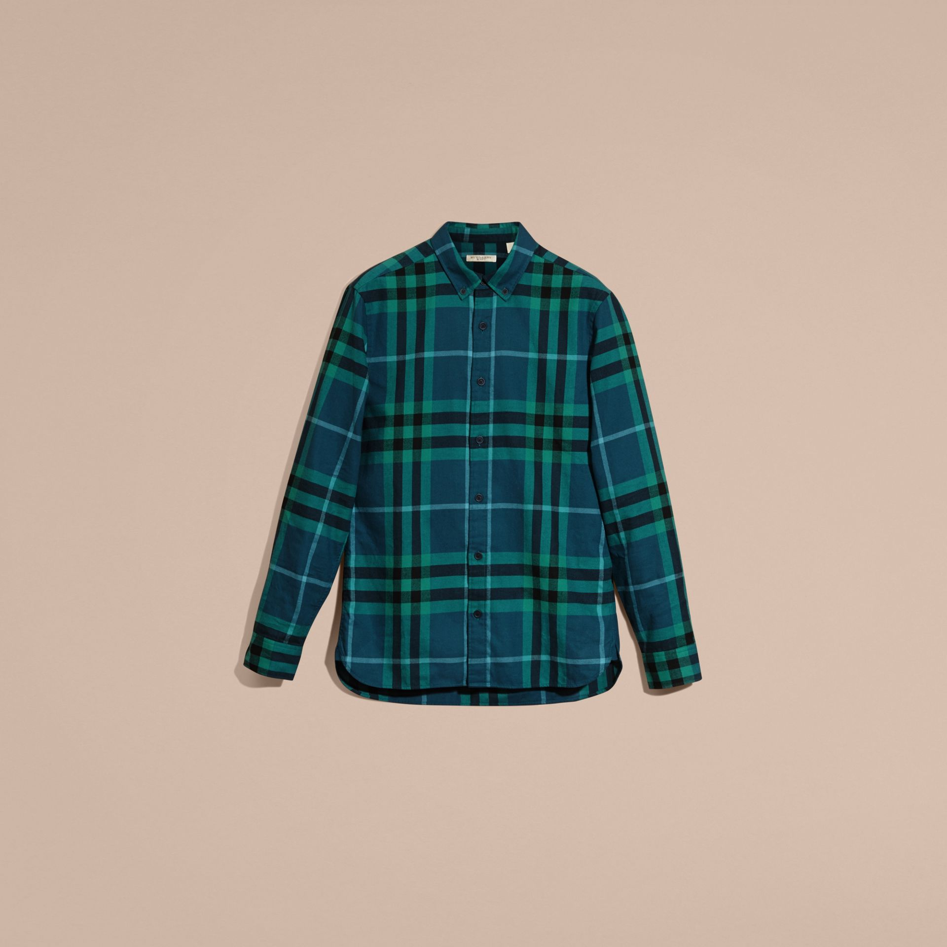 Mineral blue Check Cotton Flannel Shirt Mineral Blue - gallery image 4