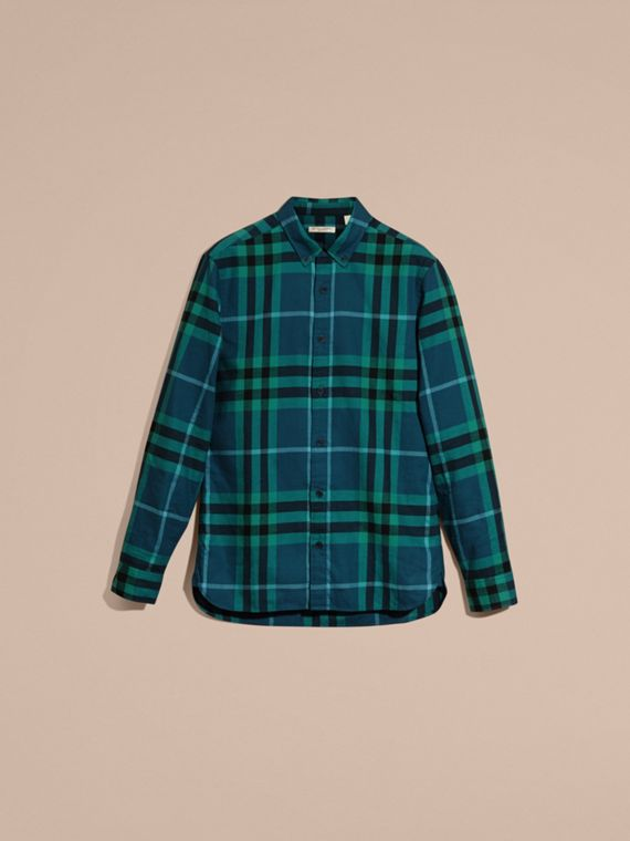 Mineral blue Check Cotton Flannel Shirt Mineral Blue - cell image 3