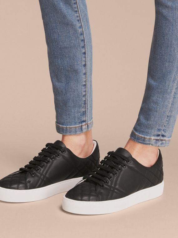 Check-quilted Leather Trainers in Black - Women | Burberry United States - cell image 2