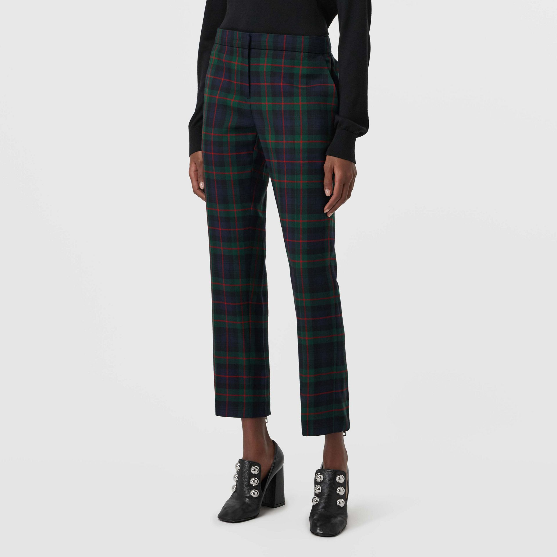 Zip Detail Check Wool Blend Trousers in Navy - Women | Burberry United Kingdom - gallery image 4