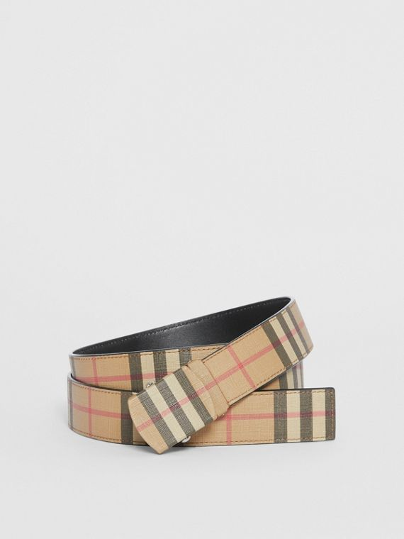 Vintage Check E-canvas Belt in Archive Beige