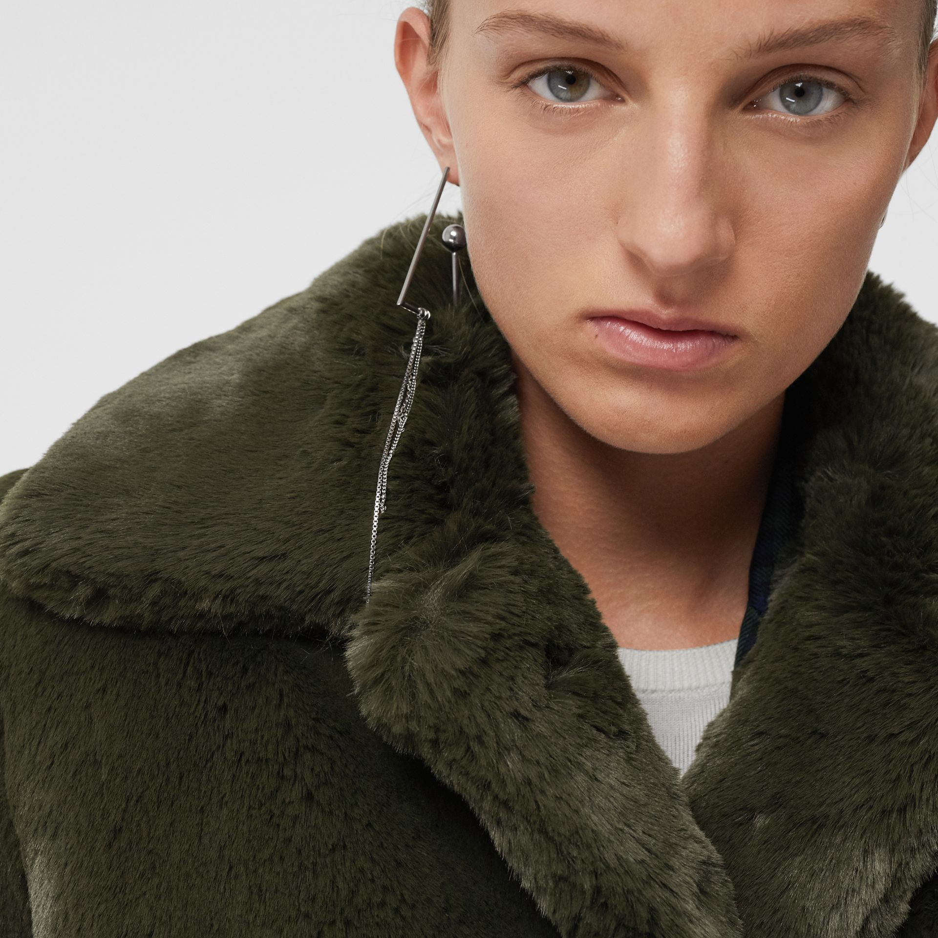 Faux Fur Single-breasted Coat in Dark Forest Green - Women | Burberry - gallery image 1