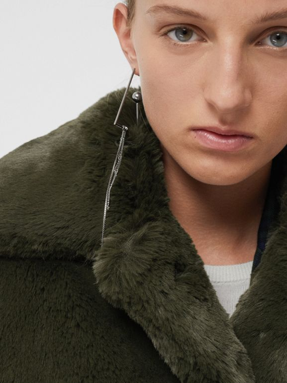 Faux Fur Single-breasted Coat in Dark Forest Green - Women | Burberry Australia - cell image 1