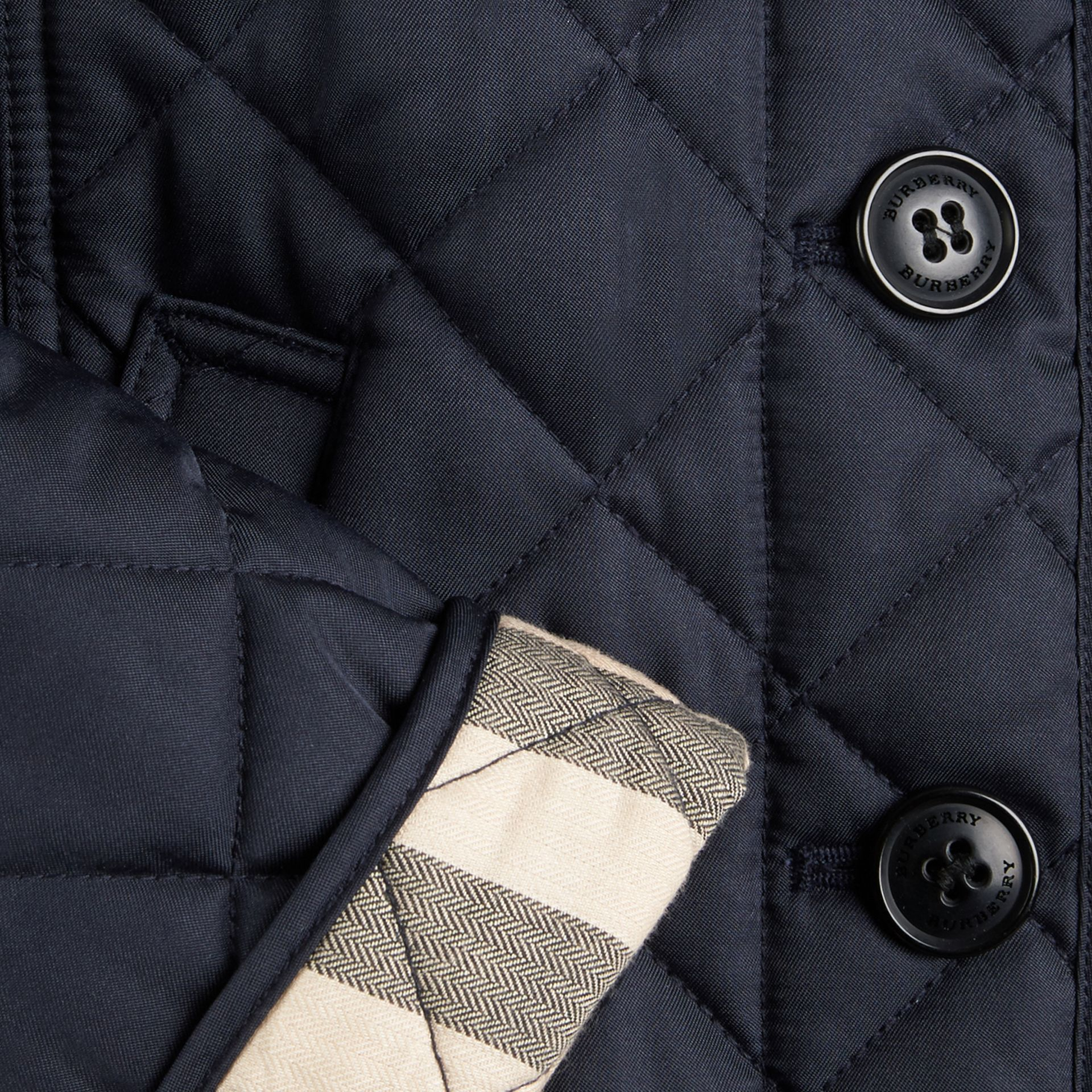 Check Lined Diamond Quilted Jacket in Navy - Girl | Burberry Singapore - gallery image 1