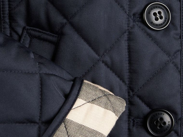 Check Lined Diamond Quilted Jacket Navy - cell image 1