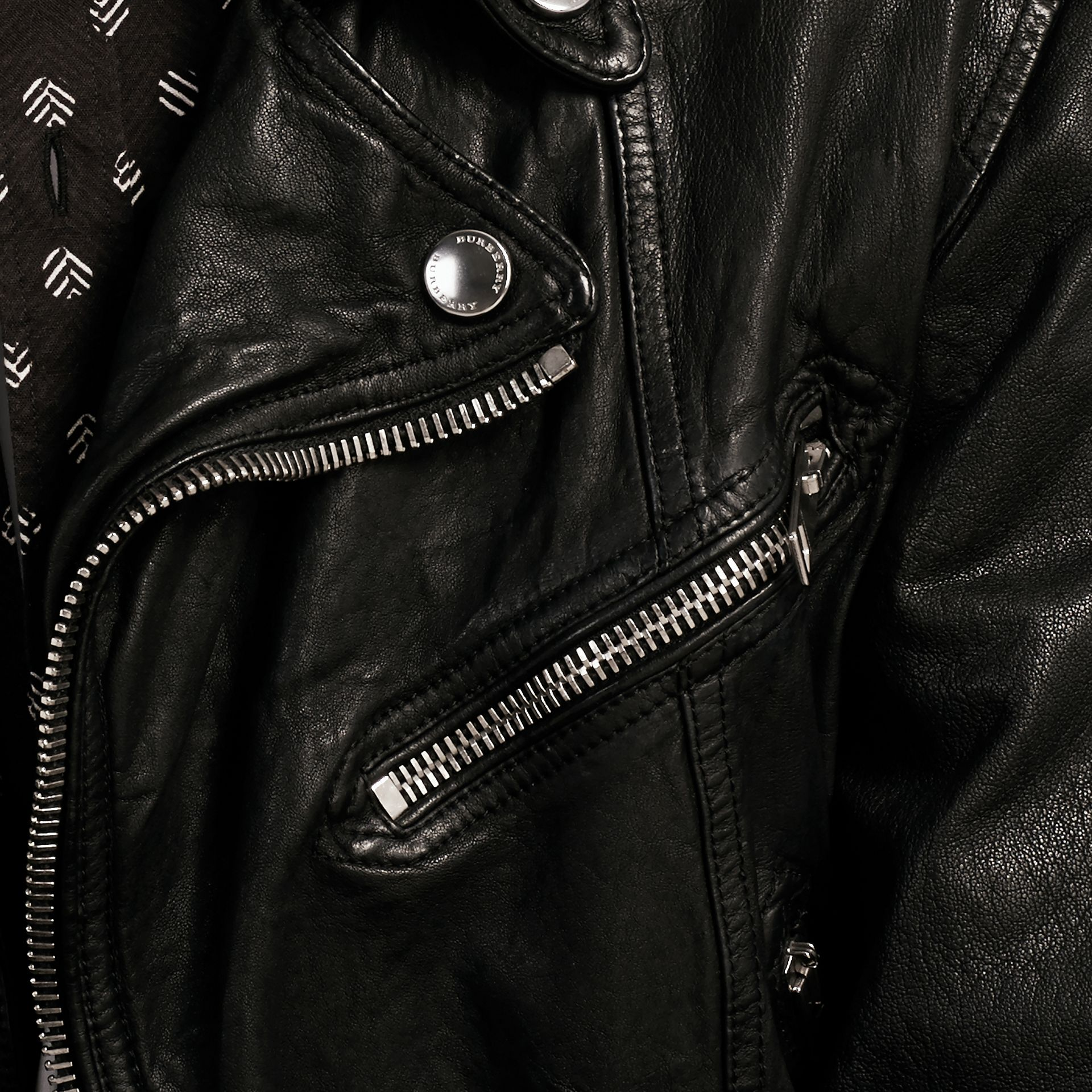Black Washed Lambskin Biker Jacket - gallery image 2