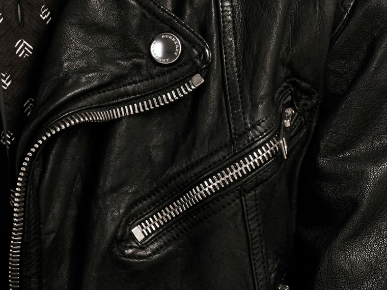 Black Washed Lambskin Biker Jacket - cell image 1