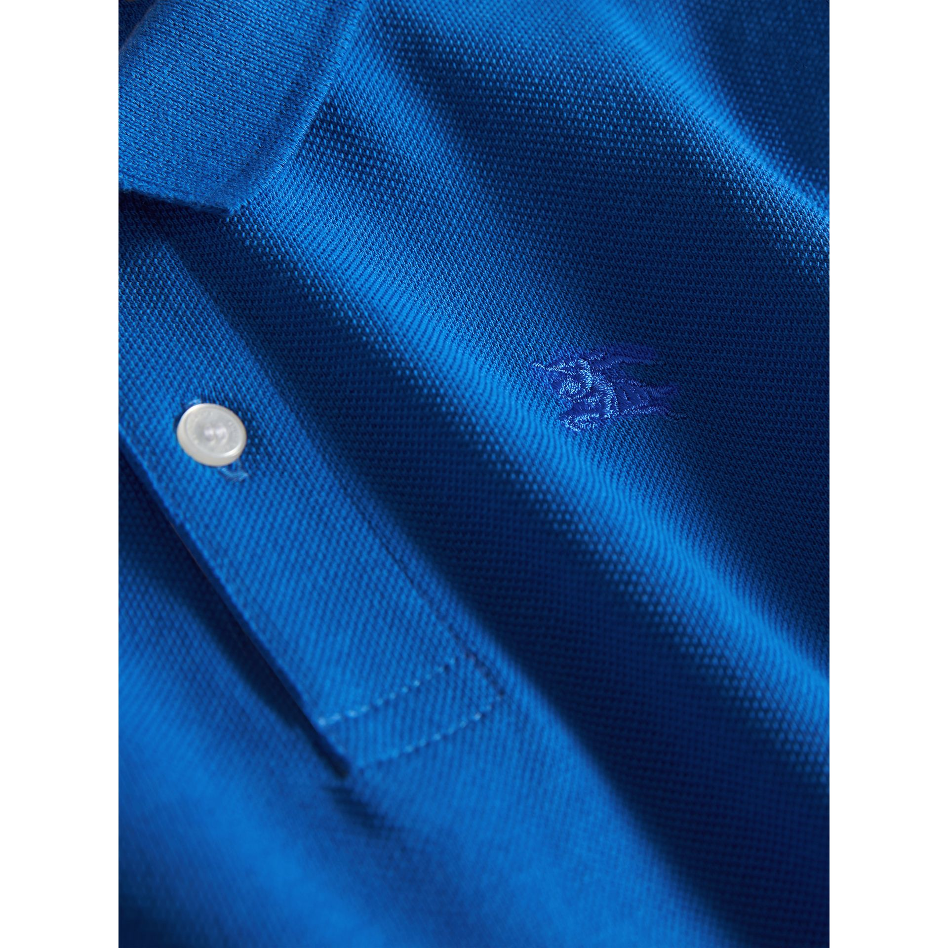 Check Placket Polo Shirt in Cobalt Blue - Boy | Burberry Australia - gallery image 2