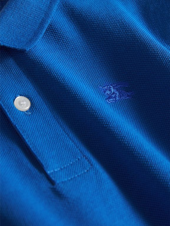 Check Placket Polo Shirt in Cobalt Blue | Burberry - cell image 1
