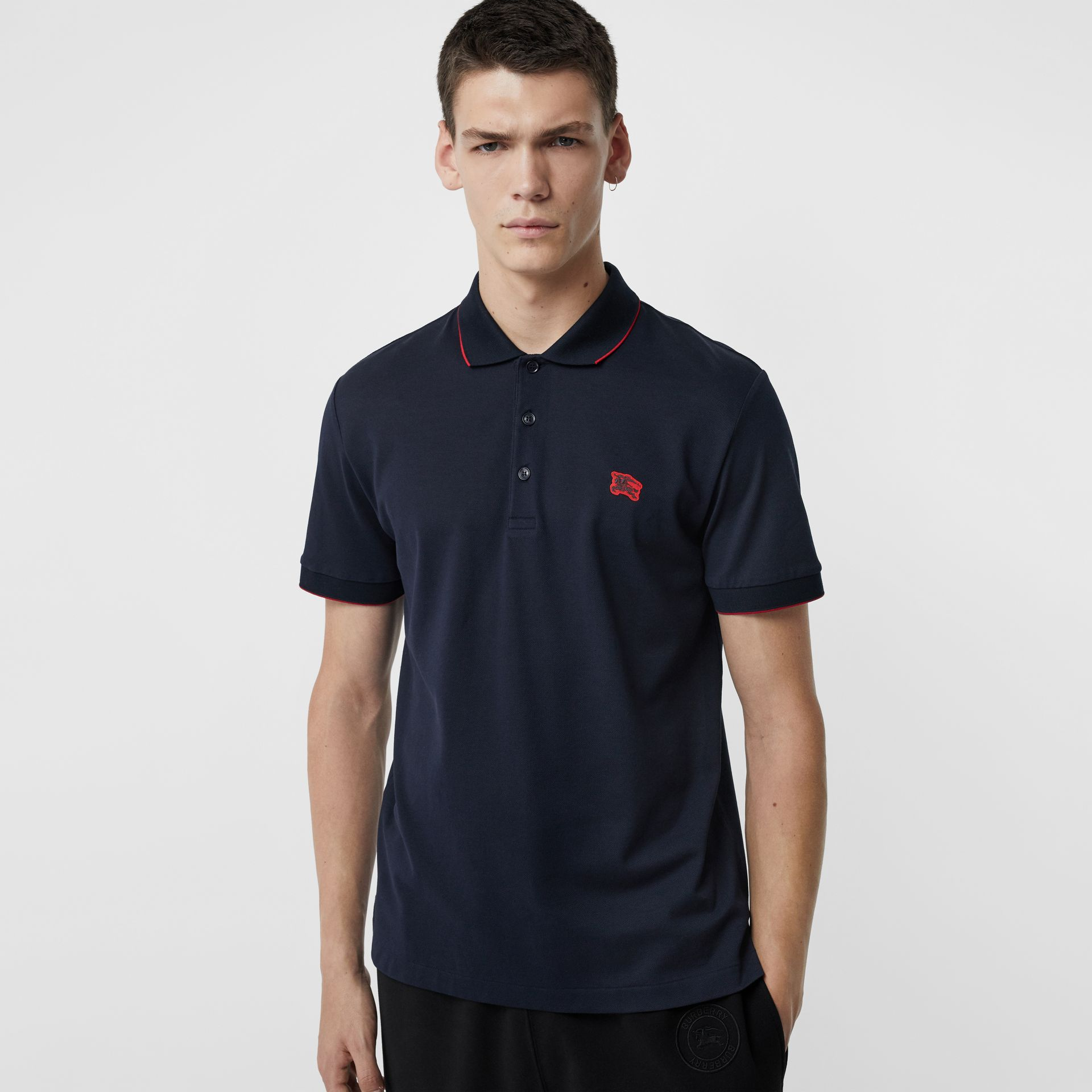 Tipped Cotton Piqué Polo Shirt in Navy - Men | Burberry - gallery image 0
