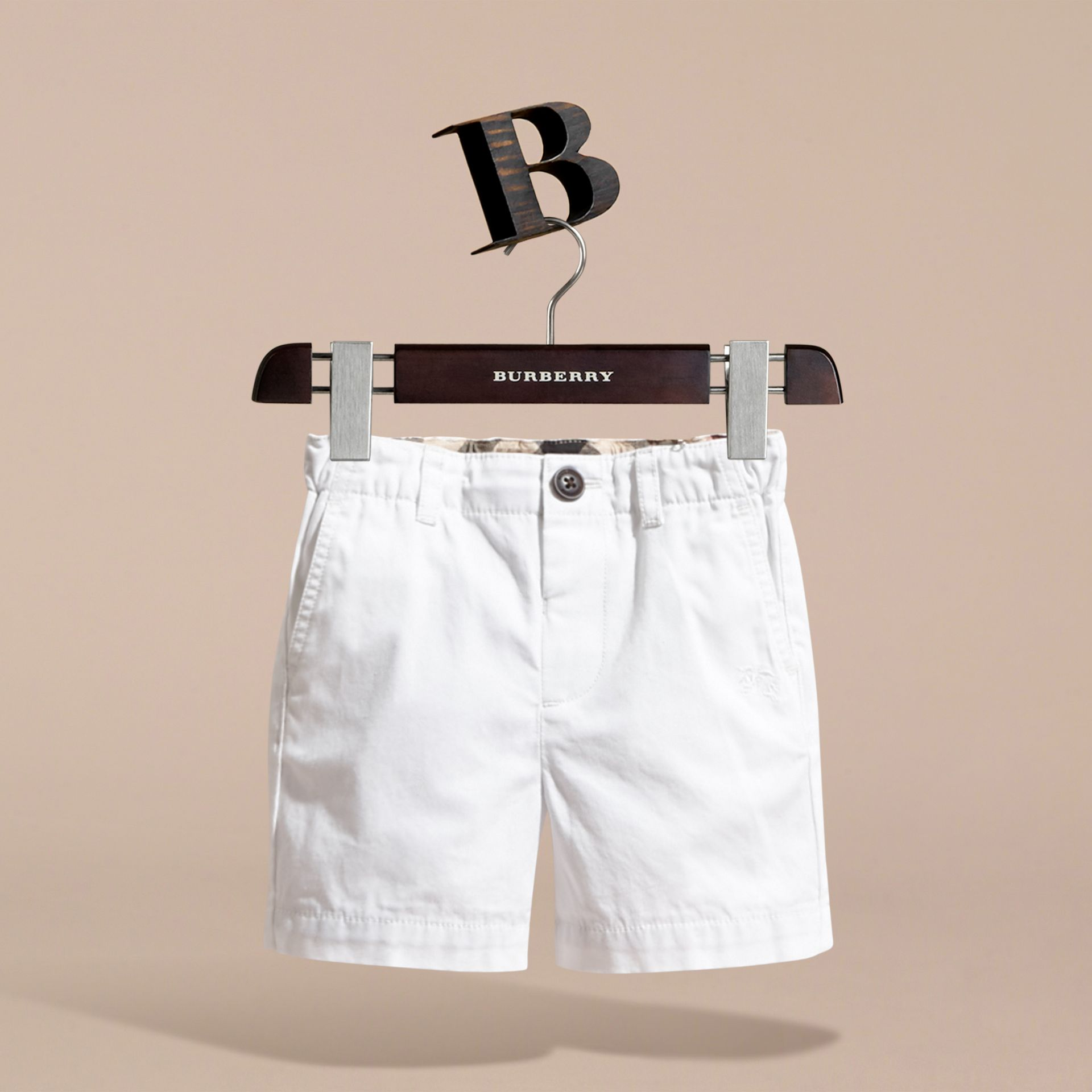 Check Detail Cotton Chino Shorts in White | Burberry Hong Kong - gallery image 3