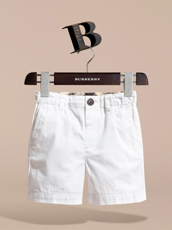 Check Detail Cotton Chino Shorts in White | Burberry Hong Kong - cell image 2