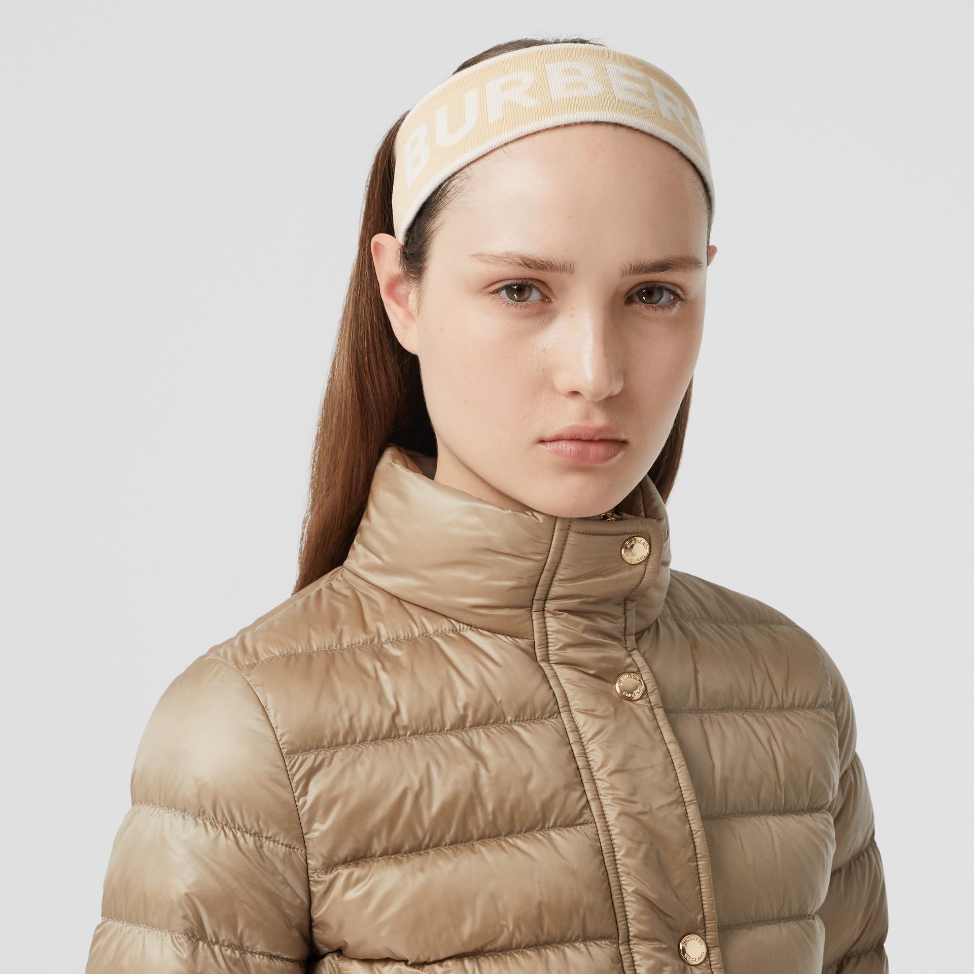 Logo Intarsia Wool Blend Headband in Beige/optic White | Burberry United States - gallery image 2