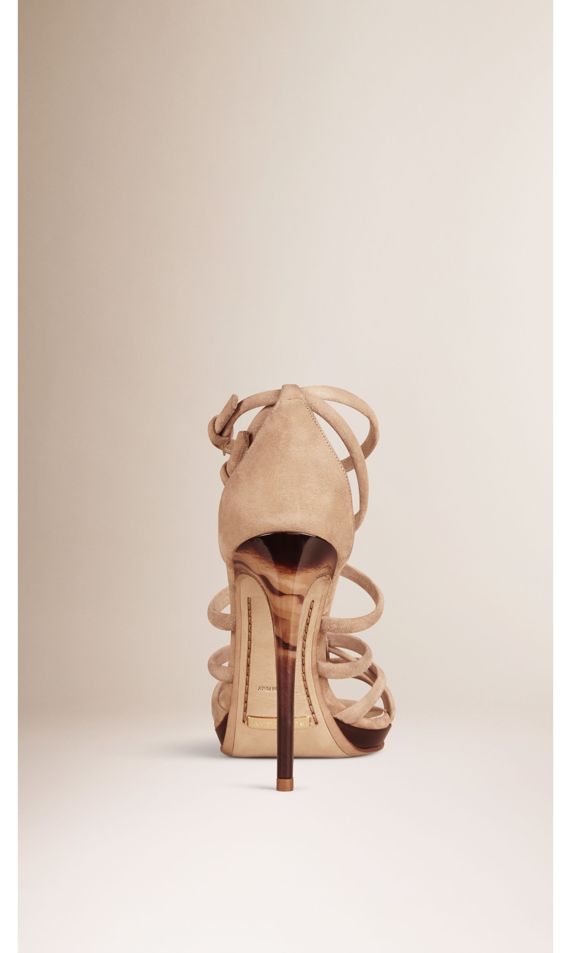 Multi-strap Suede Sandals in Honey - Women   Burberry United States - gallery image 1