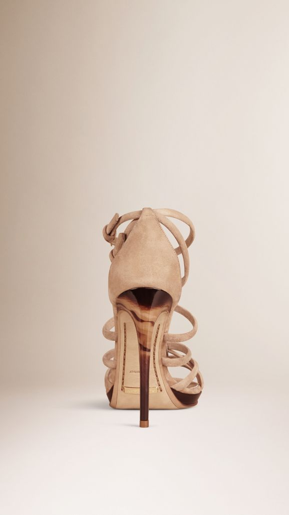 Multi-strap Suede Sandals in Honey - Women   Burberry United States - cell image 1