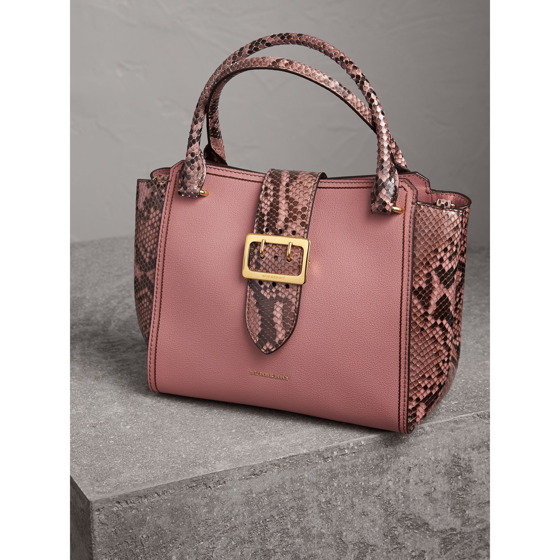 The Medium Buckle Tote in Grainy Leather and Python in Dusty Pink - Women | Burberry - gallery image 6