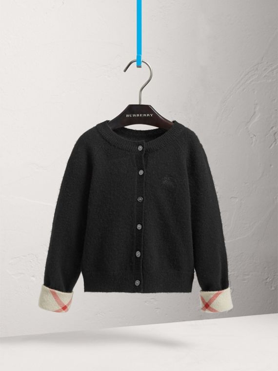 Check Cuff Cashmere Cardigan in Black - Girl | Burberry - cell image 2