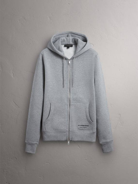 Pallas Helmet Cotton Blend Jersey Hooded Top in Grey Melange - Men | Burberry Singapore - cell image 3