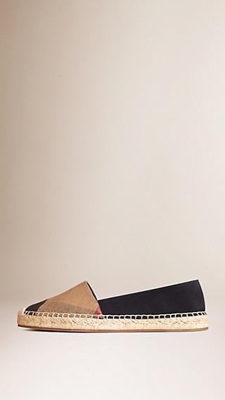 Espadrilles en jute de coton et cuir velours avec motif check