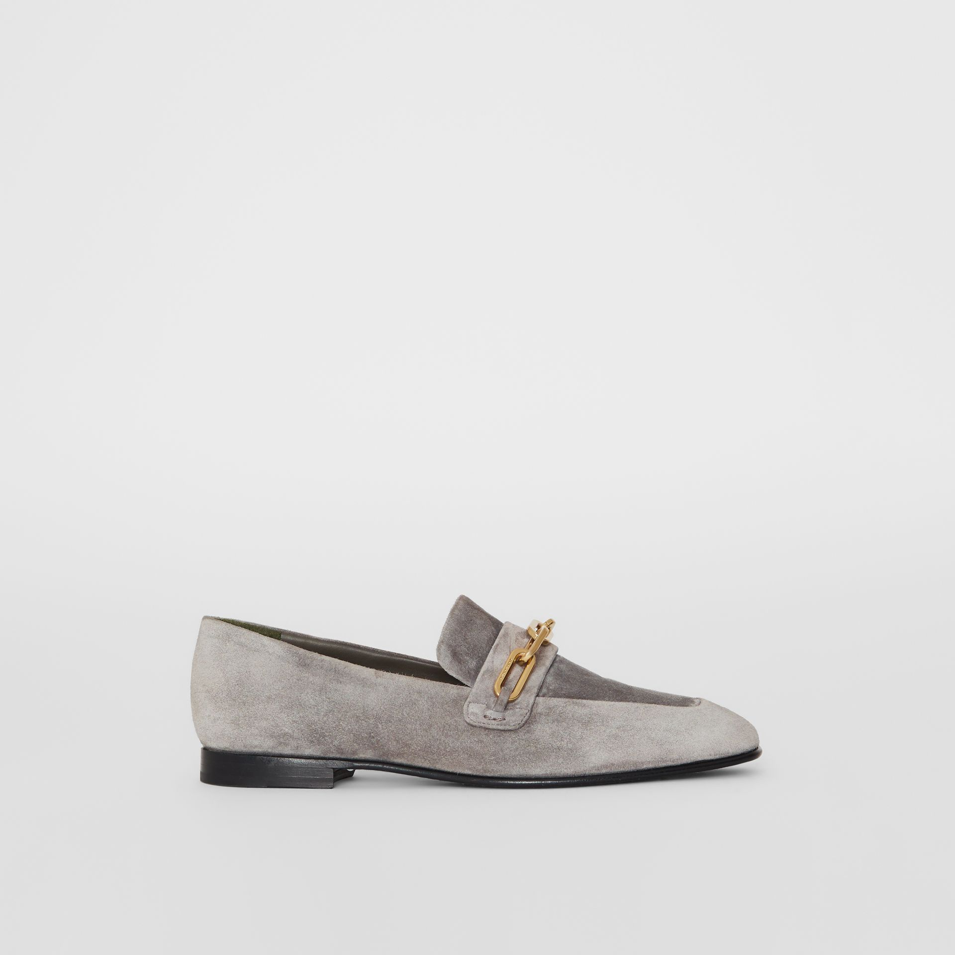 Link Detail Suede Loafers in Smokey Grey - Women | Burberry - gallery image 5
