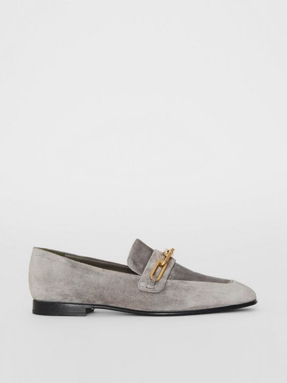 Link Detail Suede Loafers in Smokey Grey