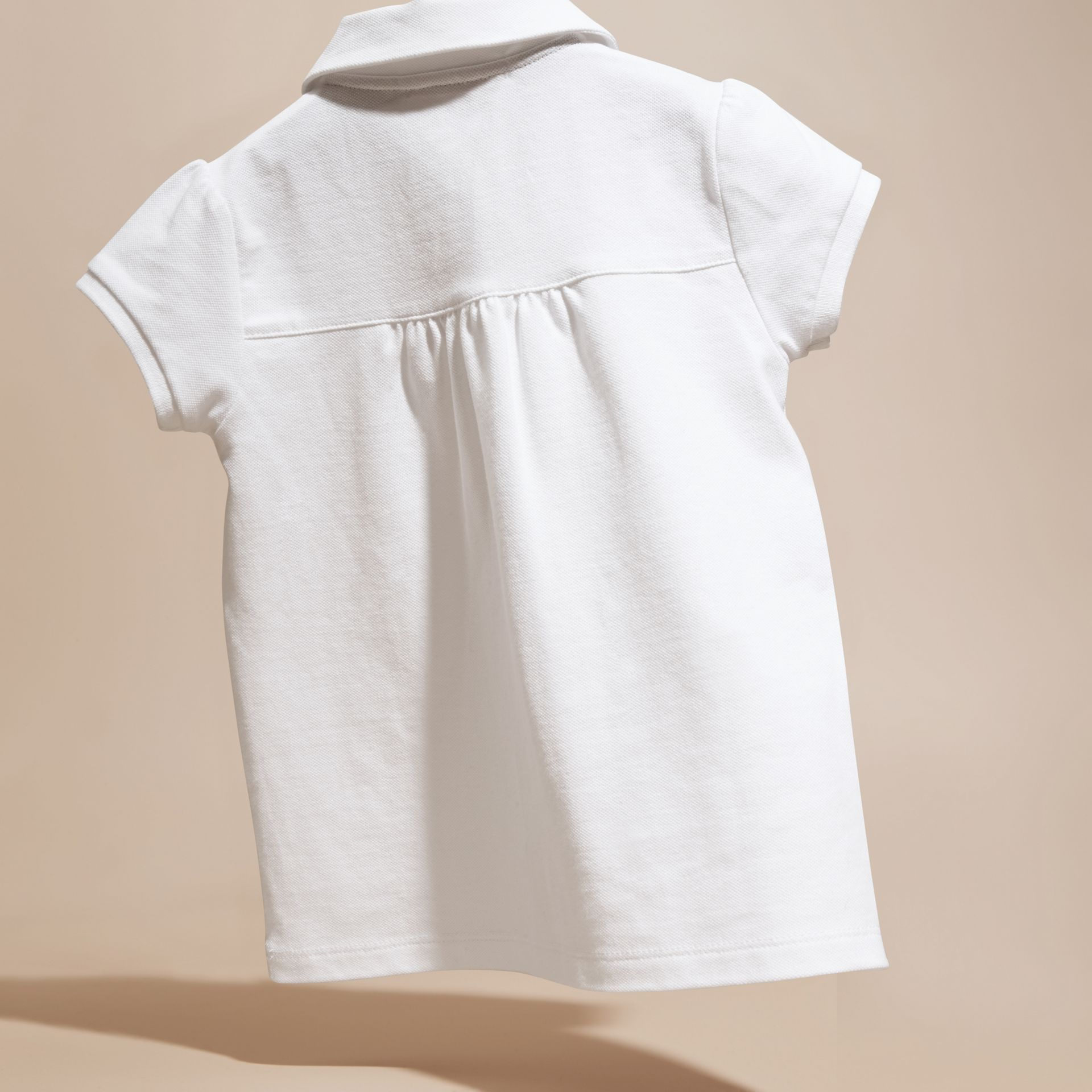 Peter Pan Collar Cotton Piqué Polo Shirt in White - gallery image 4